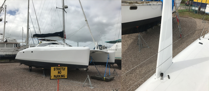 Catamaran repairs and respray