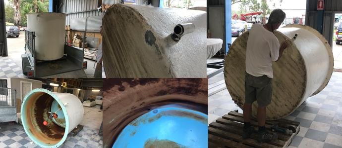 Water tank fiberglass repairs